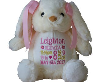 Personalized Bunny, Stuffed Bunny Rabbit, Custom Plush Soft Toy, Baby Gift, by Renee's Embroidery