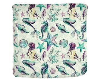 Mermaid  Blanket  Soft Velveteen  4 Sizes Mermaid Seahorse Starfish Watercolor