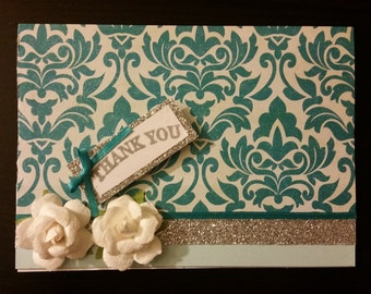 Thank You Greeting Card - Floral, Damask, Embellishments