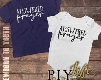 Kids   Answered Prayer  Bodysuit Toddler shirt Kids Shirt DTG Printing on Demand