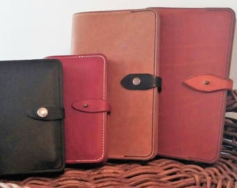 Leather journal cover, Moleskine large notebook, large leather notebook cover - with refillable notebook