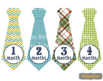 Monthly Baby Stickers, boy baby month stickers, tie monthly baby stickers - bailey tie