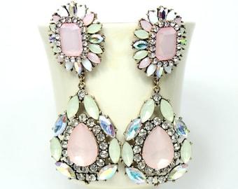 Flower Chandelier Earrings Pastel Pink Dangle Earrings Statement Earrings