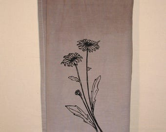 Hand dyed, hand printed flour sack kitchen towel, brown with wildflower