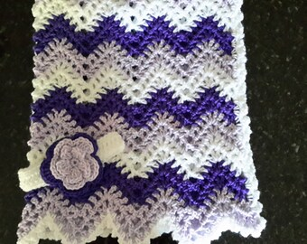 baby girl, chevron, ripple, baby, crochet blanket, afghan crochet, crocheted blanket, crocheted afghan, lavender, purple, white