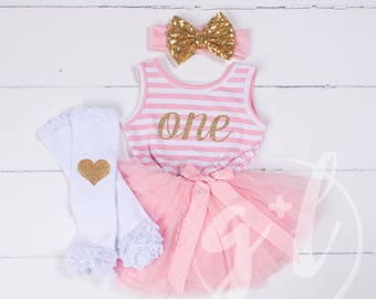 First Birthday outfit girls, First Birthday Dress, Gold Glitter, Pink gold toddlers Dress