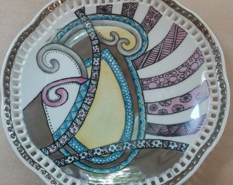 China Painted Kiln Fired Zentangle Plate