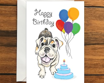 Happy Birthday Dog One Blank Greeting card and Envelope A6
