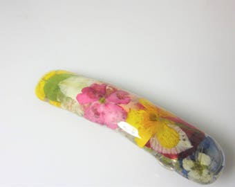 Multifloral  Barrette, Real Pressed Flowers,  French Clasp, Resin (3020)