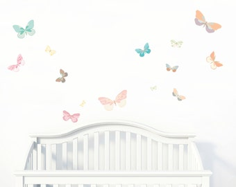 Butterfly Fabric Wall Decals | Pastel Nursery Butterflies Stickers