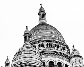 Black and White Sacre Coeur Photography - Paris Landmarks - Wall Art Print - Paris Decor - Architecture - La Basilique B/W - 0039