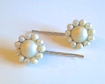 Vintage Wedding Bridal Hair Pins Upcycled Repurposed White Pearl Beaded 1960s Something Old Wedding Wardrobe