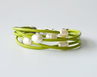 Leather and Pearl Bracelet, Lime Green Leather and Freshwater Pearls,  Other Colors Available, Gift Boxed