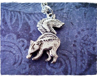 Silver Skunk Necklace - Antique Pewter Skunk Charm on a Delicate Silver Plated Cable Chain or Charm Only