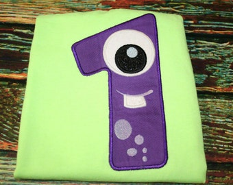 Number one monster applique, Monster applique, first birthday, monster theme, birthday applique, monster, applique, embroidery design