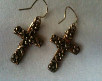 Vintage Cross Shaped Brass Earrings with Floral Design