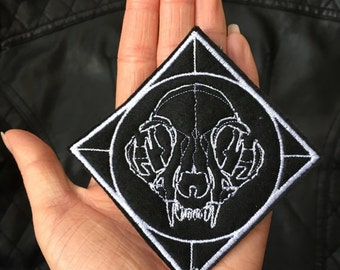 Cat Skull Iron On Embroidery Patch