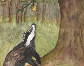 Original Art - The Five of Badgers - Watercolor Badger Painting -The Badgers Forest Tarot