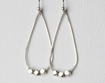 Long Sterling Silver Teardrop Earrings, Faceted Silver Nugget Earrings, Modern Silver Dangle Earrings, Jewellery Gift, Modern Jewelry