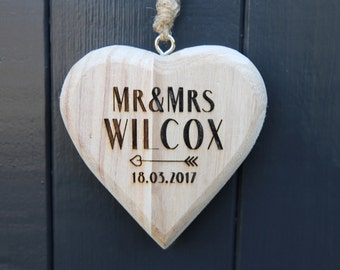 Personalised Wooden Heart - Mr and Mrs Wooden Heart - Hanging Chunky Wooden Heart  - Wedding Gift - Wooden Anniversary Gifts