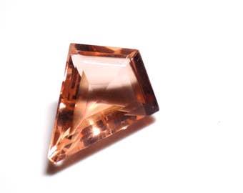 Peach Synthetic Quartz Kite Shaped Gemstone 20.7 x 16.5 mm
