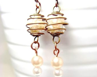 Copper Brass Faux Pearl Earrings with Swirl Cage, Jewelry by Natty Creations