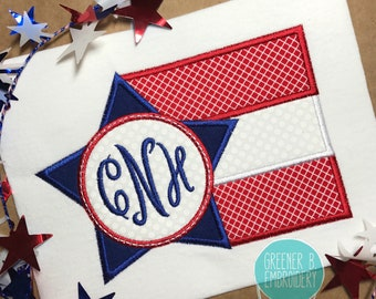Fourth of July Shirt / 4th of July Flag Applique / 4th of July Applique / 4th of July Monogram / Red White and Blue shirt / 1st 4th of July