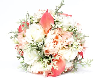 CORAL WEDDING BOUQUET - Coral and Mint Wedding Bridal Bouquet , Coral Real to Touch Peonies Bridal Bouquet , Coral Ivory and mint bouquet