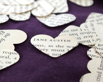250 Jane Austen Novel Heart Confetti - Hand Punched Wedding Confetti, Table Decor, Rustic, Paper Decorations