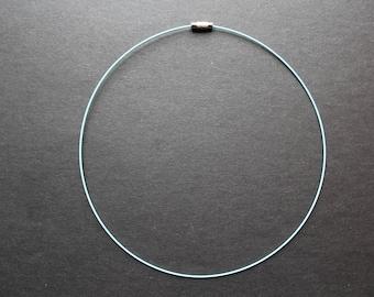 Sky blue semi rigid steel wire necklace