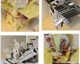 Fait à la main d'anniversaire Pop up explosion boîte carte-puzzle et thèmes de noir et blancs - 3 Variations--sans expédier des é.-u.