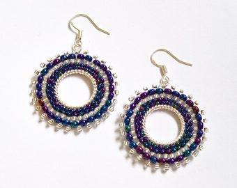 Blue Beadwoven Earrings, Dark Blue Beaded Earrings, Seed Bead Hoop Earrings, UK Seller