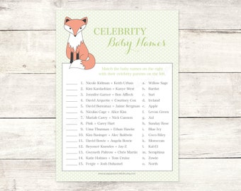 fox baby shower celebrity baby names matching game card printable boy fox DIY green polka dots baby shower digital games - INSTANT DOWNLOAD