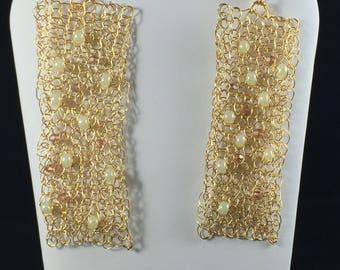 Gold crocheted wire earrings