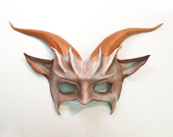 Leather Goat Mask entirely handcrafted lightweight easy to wear  great for average and also smaller size adult faces tan brown cream