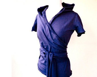 Hooded wrap shirt, more colors