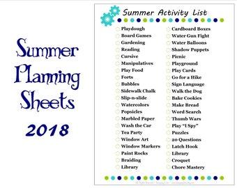 Summer Planning Worksheet Set 2018 - PDF Printable Pages