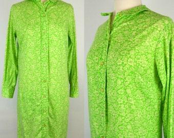 1960s Green and White Wild Flower Print Long Sleeve Shift Dress, Shirt Dress