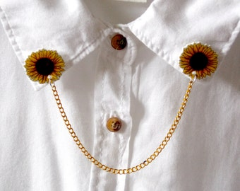 Sunflowers - Collar Clips - Sweater Clips