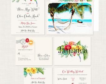 Jamaica Montego Bay Negril destination wedding tropical paradise floral illustrated wedding invitation Jamaican wedding Deposit Payment