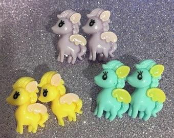 Fairy Kei Pastel Pegasus Stud Earrings (3 colors)