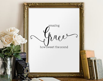 Amazing grace printable, Christian wall art, Hymn wall art, Bible verse print, Home decor, Christian art, 8x10 print Inspirational art BD568
