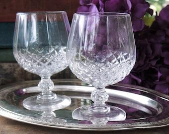 Vintage Brillant Cut Lead Crystal Brandy Snifters Glasses Set of 2 Cognac Brandy Glasses Barware