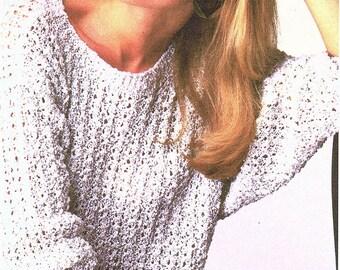 Ladies Round Neck Sweater, Knitting Pattern. PDF Instant Download.