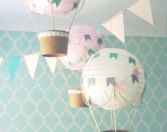 Whimsical Hot Air Balloon decoration DIY Kit - PINK & CREAM - nursery decor - travel theme nursery - set of 3
