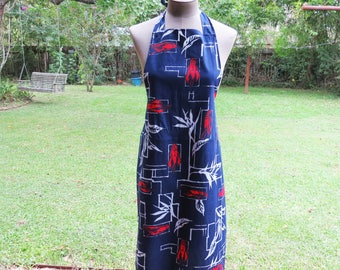 Vintage Crawfish Apron- Tie back with Crawfish and Bamboo- Red, White and Blue Apron