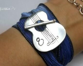Wrap Bracelet Music Lover  ORIGINAL Guitar Bracelet Silk Wrap Bracelet Musician's Silk Wrap Bracelet Personalized Music Lover Gift