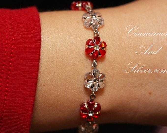 Daisy Chain Beaded Link Bracelet, Flower Power Linked Bracelet, Purple Flower Bead Bracelet, Red Flower Bracelet, Green Flower Bracelet