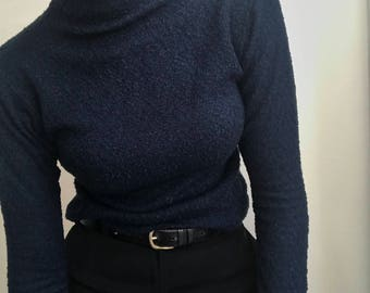 90's Vintage Dark Blue Mock Neck Top with Granular Texture