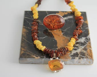 Amber and Quartz Necklace